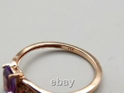 10K Rose Gold Amethyst Diamond Ring Sz 6.75 Estate Signed JWBR Emerald Cut