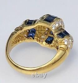 18K Yellow Gold Square-Cut Blue Sapphire Diamond Horizontal Signed Dome Ring