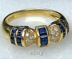 18K Yellow Gold Square-Cut Blue Sapphire Diamond Horizontal Signed Dome Ring 7