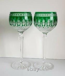 2 pcs WATERFORD CLARENDON GREEN CUT TO CLEAR WINE HOCKS / GOBLETS, NEW, SIGNED