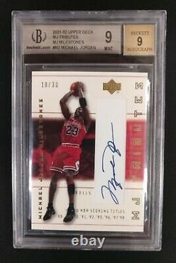 2001-02 Upper Deck MJ Tributes Milestones Michael Jordan AUTO BGS 9 Bulls 10/30