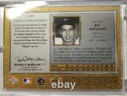 2001 SP Legendary Cuts Joe DiMaggio Cut Signature AUTO Autograph SP/275 Yankees