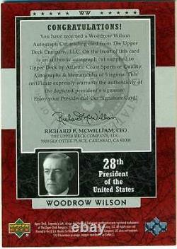 2003 Sp Legendary Cuts President Woodrow Wilson Cut Auto Autograph /2 Princeton