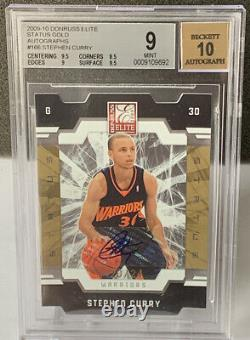 2009 STEPHEN CURRY ROOKIE AUTO ELITE GOLD STATUS DIE CUT /24 BGS 9 With10 AUTO