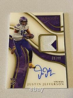 2020 Immaculate JUSTIN JEFFERSON Acetate Rookie Patch Auto 8/99 Vikings RC