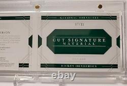 2020 National Treasures Rickey Henderson Cut Signature Auto Booklet 7/15