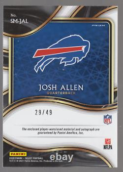 2020 Panini Select Josh Allen Signature Materials Auto Patch Card /49 #sm-jal