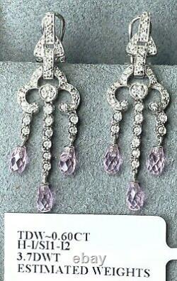 $2300 14K White Gold Fantasy-Cut Briolette Dangle Diamond Earrings Chandelier