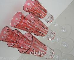 6 Faberge Xenia Flute Cranberry Cased Cut To Clear Crystal Signed