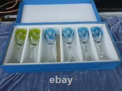 6 Saint Louis Chambord Color To Clear Cut Crystal Wine Glasses In Original Box