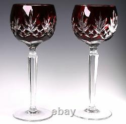 AJKA Signed Carilla Ruby Deep Red Cut to Clear Wine Hocks Set of 2 Gorgeous
