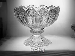 AMERICAN bRILLIANT CUT GLASS SIGNED HAWKES 2 PART PUNCH BOWL IN BRUNSWICK