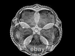American Brilliant Cut Glass 1-1 Rated Wild Rose By Tuthill Low Bowl Signed