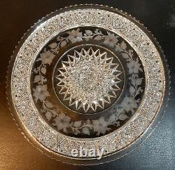American Brilliant Cut Glass 10 Diameter Tray/plate Tuthill Signed