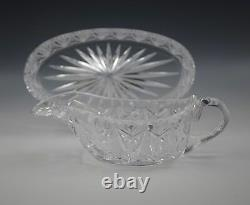 American Brilliant Cut Glass Gravy Boat With Underplate -sharp Cut-signed