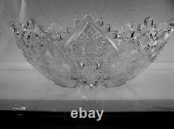 American Brilliant Cut Glass Signed Libbey Corena Pattern Banana Bowl