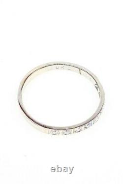 Antique 1920s Signed Old Mine Cut. 33ct Diamond 18k White Gold Wedding Band Ring