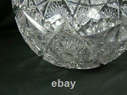 Antique AMERICAN BRILLIANT CUT GLASS PUNCH BOWL COLONNA SIGNED LIBBEY Large