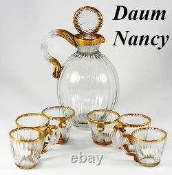 Antique DAUM NANCY French Gilt Trimmed Liqueur Decanter Set, 6 Cordials, Signed