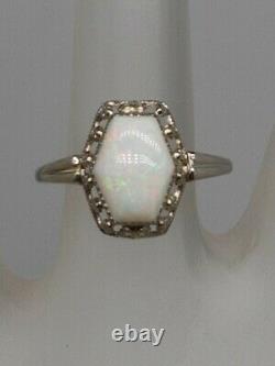 Antique Edwardian Signed 1900s 2ct Fancy Cut Natural OPAL Platinum Filigree Ring
