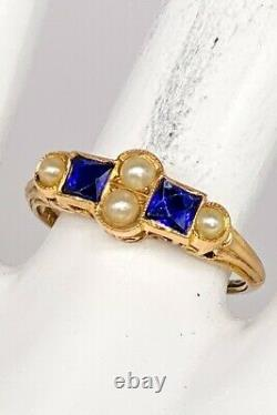 Antique Signed French Cut Blue Sapphire Pearl 14k Yellow Gold Filigree Band Ring