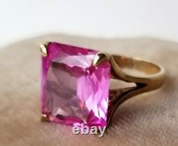 Antique Signed Lg. 17x12mm Pink Sapphire Emerald Cut, 10K Yellow Gold Ring 6.75