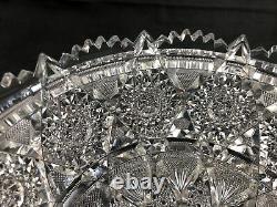Antique Tuthill ABP Brilliant Cut Glass REX Pattern 8 Bowl Signed