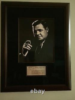Babe Ruth Signed cut on Index PSA/DNA Prof Framed In Museum Glass. Top Grade