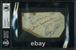 Beatles (4) Lennon McCartney Harrison & Starr Signed 3x5 Cut Signature BAS Slab