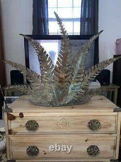 Brutalist Torch Cut Signed Copper Wall Art/Fireplace Screen Ferns & Azaleas Huge