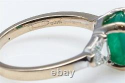 Daussi Signed $8000 3ct Colombian Emerald FANCY CUT Diamond 18k White Gold Ring