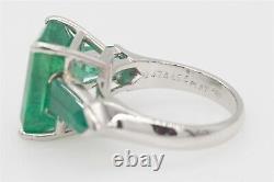 Designer Signed $15,000 11ct Fancy Cut Colombian Emerald Platinum 3 Stone Ring