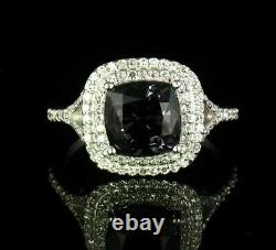 EFFY SIGNED CUSHION CUT NATURAL 3.25ctw SPINEL DIAMOND 14K WHITE GOLD MIST RING