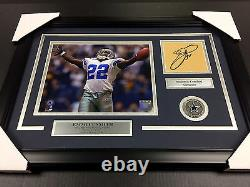 Emmitt Smith Autographed Book Cut Framed With 8x10 Photo Dallas Cowboys