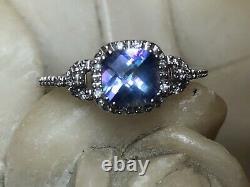 Estate 10k Gold Mystic Topaz Diamond Ring Cushion Cut Signed Jwbr Engagement