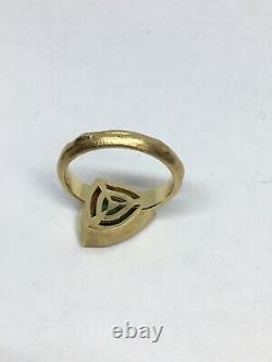 Fancy Cut Tsavorite and Diamond Ring 18K Hammered Signed Yaniv