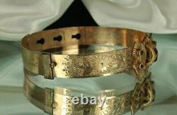 GOLD VICTORIAN Bracelet Rose Cut BOHEMIAN GARNETS Adjustable Size SIGNED WEW Fab