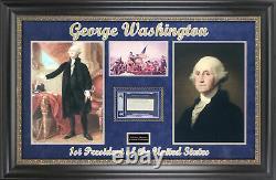 George Washington Authentic Signed & Framed 2x4.5 Cut Signature Autographed BAS