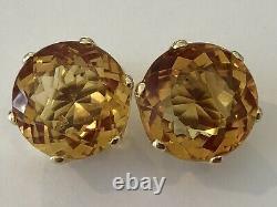 Gorgeous 18k H Stern checkerboard cut Citrine clip on earrings 11.7 grams