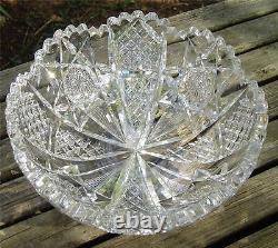 Gorgeous Antique Abp Signed Hawkes 8in Cut Glass Bowl