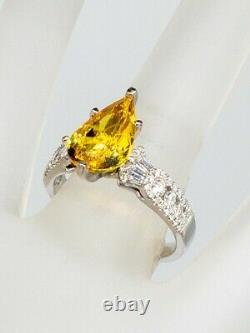 HOB Signed $12K 5ct Natural Pear Cut Yellow Sapphire Diamond 14k White Gold Ring