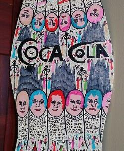 Howard Finster SIGNED ORIGINAL Mr Coke / Coca Cola on wood cut-out RARE
