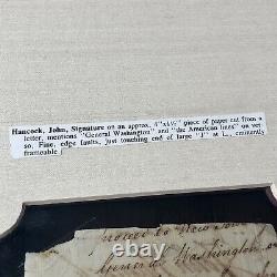 JOHN HANCOCK JSA LOA Autograph Cut Signature Signed Re George Washington