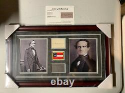Jefferson Davis Autograph Signed President Confederates Cut Auto Framed JSA