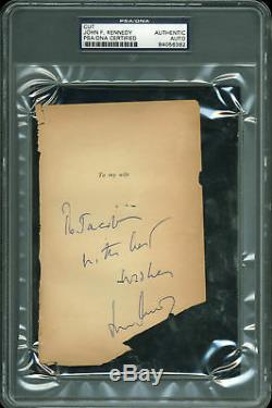 John F. Kennedy With Best Wishes Signed 4x6.25 Cut Signature PSA/DNA Slabbed
