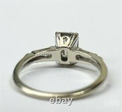 Ladies Designer Signed 14k White Gold 2/3.66 CTTW Emerald Cut Diamond Ring HUN