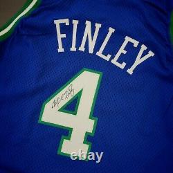 Michael Finley Vintage Champion 96 97 Mavericks Pro Cut Signed Jersey Size 50+4