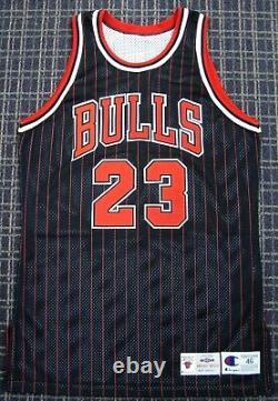 Michael Jordan Signed 96-97 Chicago Bulls Authentic Pro Cut Pinstripe Jersey UDA