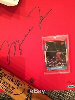 Michael jordan signed pro cut jersey, autographed book uda & Bat, Baseball COA