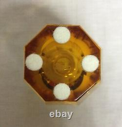 Moser Crystal Eternity Amber Vase Art Glass Signed Panel Cut 4.75 Tall